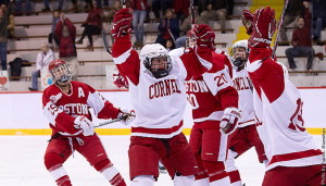 Frozen Four Bound–Cornell's Laura Fortino (center) celebrates with teammates shortly after Rougeau's game-winning goal in triple overtime. (Photo by Patrick Shanahan)