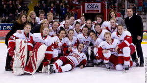 Champions–Cornell presented the ECAC championship trophy after a 2-1 overtime victory against Clarkson Friday night at Lynah Rink. It is the Big Red's third consecutive ECAC Championship. (Photo by Patrick Shanahan)